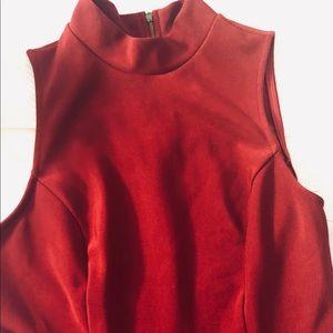 Monteau high halter red dress